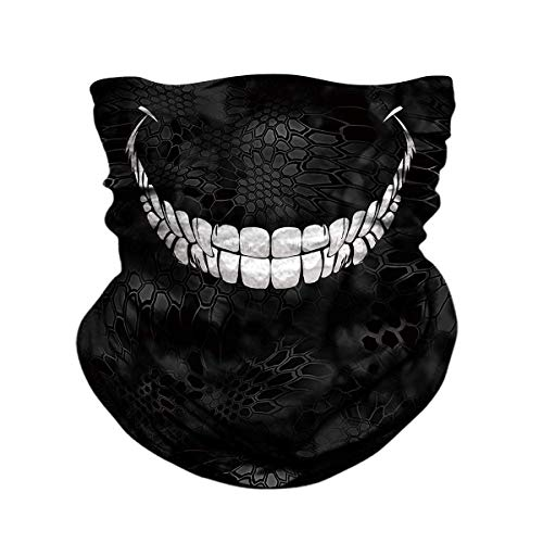 (JOEYOUNG Skull Face Mask - UV Sun Dust Protection Neck Gaiter, Half Motorcycle Face Mask Skull Bandana Mask, Seamless Headwear Tube Mask for Fishing Hunting)