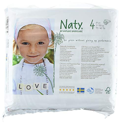 - Naty by Nature Babycare Eco-Friendly Premium Disposable Diapers for Sensitive Skin, Size 4, 4 Packs of 27 (108 Count) (Chemical, Chlorine, Perfume Free)
