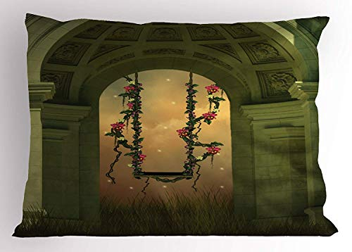 (Tigeaslg Mystic Pillow Sham, Fantasy Swing with Flowers in an Old Arch Romantic Garden and Foggy Night View, Decorative Standard Queen Size Printed Pillowcase, 30 X 20 inches, Green and Pink )