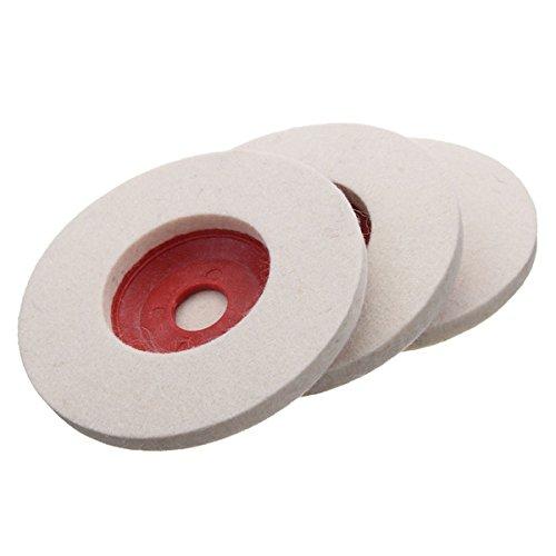 Kamas 3pcs 100mm 4 Inch Wool Buffing Angle Grinder Wheel Felt Polishing Disc Pad Polishing Wheel