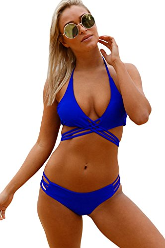 Fortuning's JDS Sexy Royal Blue Strappy Halter Bikini Top Crisscross Two Piece Swimsuit