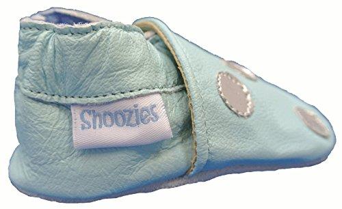 Zapatos de bebé de piel suave para niños y niñas, color azul claro con lunares color plateado Talla:M (6-12 meses)