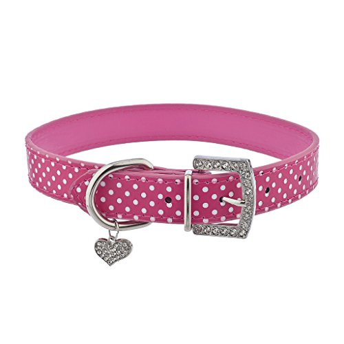 (Lux Accessories Pink Pu Leather and Silver Tone Studded Pet Cat Dog Collar)
