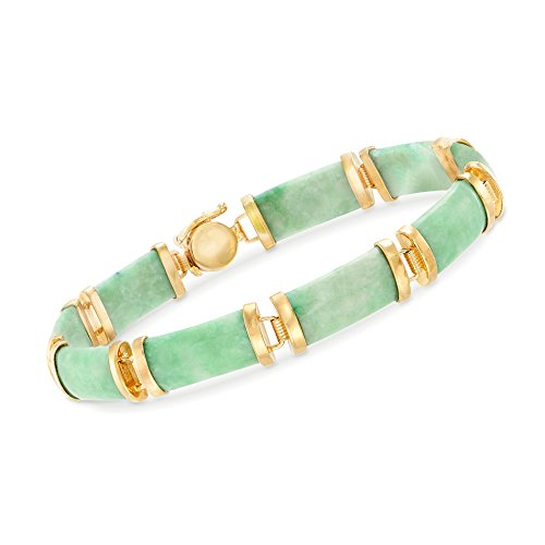 Ross-Simons Green Jade Bar Bracelet in 18kt Gold Over Sterling