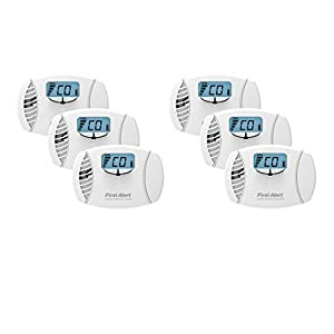 First Alert CO615 Dual Power Carbon Monoxide Plug-In Alarm with Battery Backup and Digital Display (6 Pack)