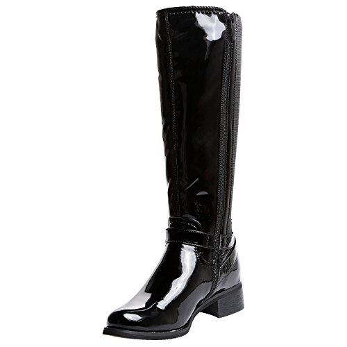 Boots Black 49cm Ladies for Size for Size Wide 2 R1Y Extra Fit Riding Zip Knee Patent 56cm and Womens Up 10 Elasticated Calf Max Under Wqwg0OBg5
