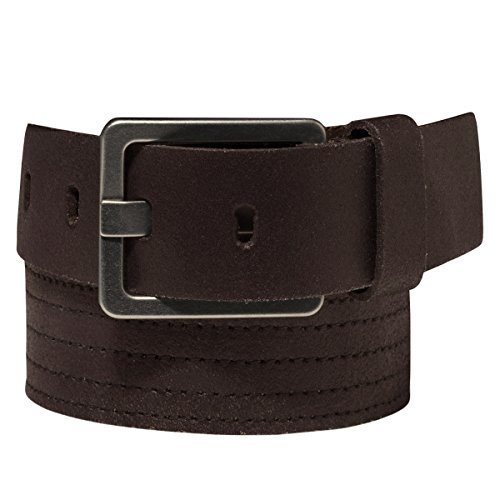 Calvin Klein Men's 1-1/2-in Stitched Leather Belt, Brown (Size 36)