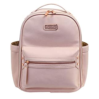 Itzy Ritzy Mini Diaper Bag Backpack – Chic Mini Diaper Bag Backpack with Vegan Leather Changing Pad, 8 Total Pockets (4 Internal and 4 External), Grab-Top Handle and Rubber Feet, Blush