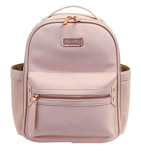 Itzy Ritzy Mini Diaper Bag Backpack - Chic Mini Diaper Bag Backpack with Vegan Leather Changing Pad, 8 Total Pockets (4 Internal and 4 External), Grab-Top Handle and Rubber Feet, Blush