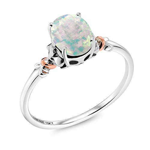 Gem Stone King 925 Sterling Silver and 10K Rose Gold Ring Oval Cabochon White Simulated Opal 0.63 cttw (Size 6)