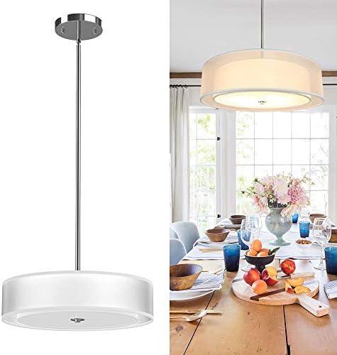 Depuley 3-Light Pendant Light Fixture, 20 Semi-Flush Mount Drum Ceiling Light for Kitchen Island Dining Room, Modern Ceiling Hanging Lights Chandelier, Adjustable Height