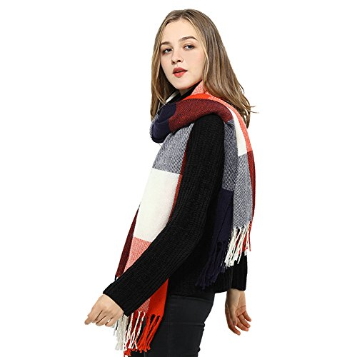Blanket Scarves for Women Big Plaid Scarfs Womens Checked Lattice Winter Scarves (one size, B: White/Red/Black Grid)