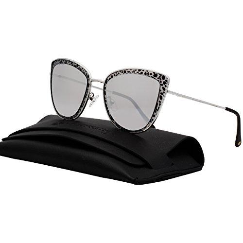 VIVIENFANG Mirror Lens Oversized Women Cateye Sunglasses Leopard Print Metal Frame Shades G87566B - Like Eyewear Sunglasses Diff