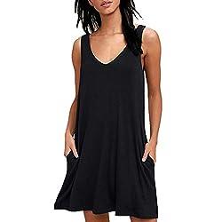 Liraly Women Summer Casual T Shirt Dresses Beach Cover Up Plain Pleated Tank Dress Black