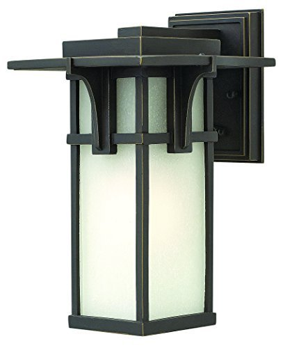 Hinkley 2230OZ-LED Manhattan - LED Small Outdoor Wall Mount, Oil Rubbed Bronze Finish with Etched Seedy Glass