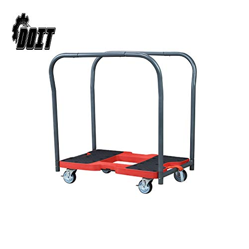 - DOIT Flatbed Cart Hand Platform Truck Push Dolly for Loading with Double Row Handle,Bright Red & Black,Carrying Capacity: 1500 LBS