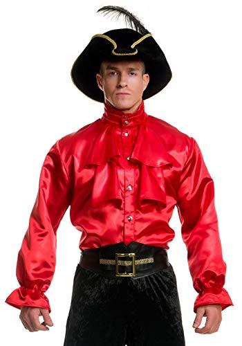 Charades Men's Pirate Captain Shirt, red Medium ()