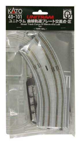 Scale Kato Unitrack Track Curved - Kato N Scale Unitram/Unitrack Left Curved Street Track R180mm-45d -1 Per Package With Connectors & Street Items KA-40-101