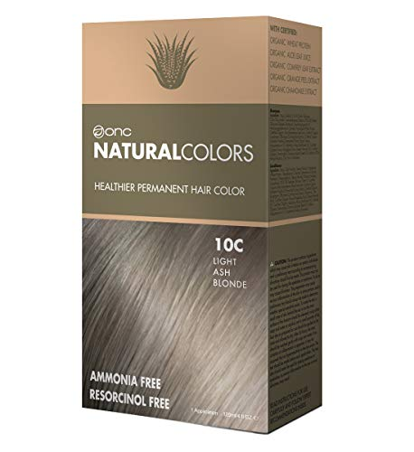ONC NATURALCOLORS 10C Light Ash Blonde Healthier Permanent Hair Color Dye 4 fl. oz. (120 mL) with Certified Organic Ingredients, Ammonia-free, Resorcinol-free, Paraben-free, Low pH, Salon Quality
