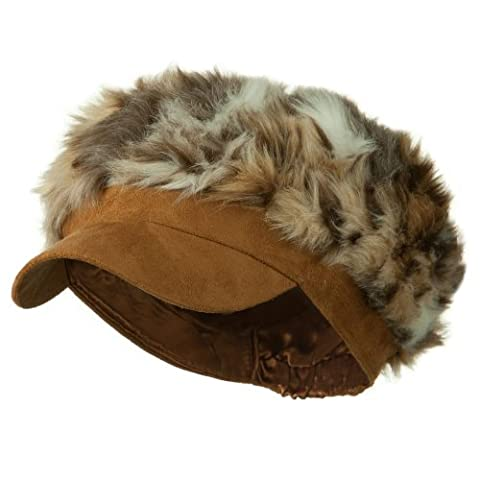 Animal Print Fur Newsboy and Scarf Set - Brown Mixed Animal OSFM