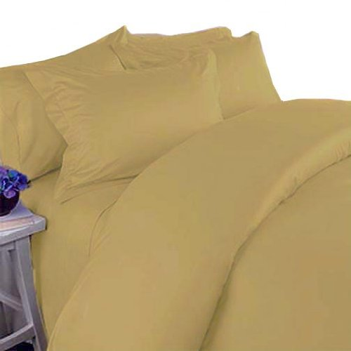 Marrikas 300TC Egyptian Cotton Quality TWIN Sheet Set Solid GOLD ()