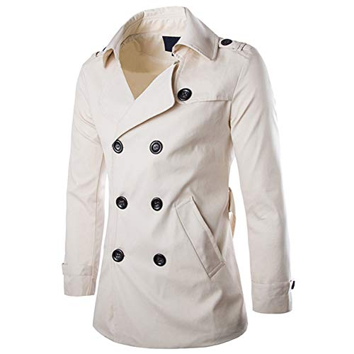 Men's Double Breasted Trenchcoat Notch Lapel Stylish Belted Windbreaker Slim Fit Short Coat (Off White, ()