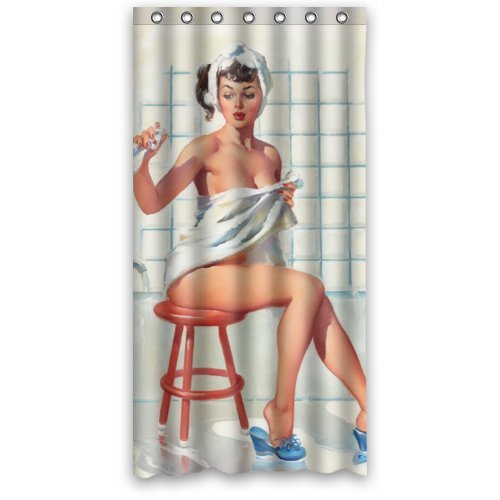 Retro Pin Up Art (Sexy Bathroom Art Shower Curtain Pretty Girl Bathing - Vintage Retro Pin Up Girls Body Art Work Canvas Painting Style Waterproof Polyester Fabric 36(w)x72(h) Rings Included)
