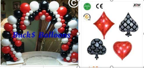 PartyWoo Casino Party Decorations, 54 pcs Red Balloons Black Balloons White Balloons Mylar Balloons for Las Vegas Party Decorations, Casino Theme Party Supplies, Casino Night, Casino Birthday -