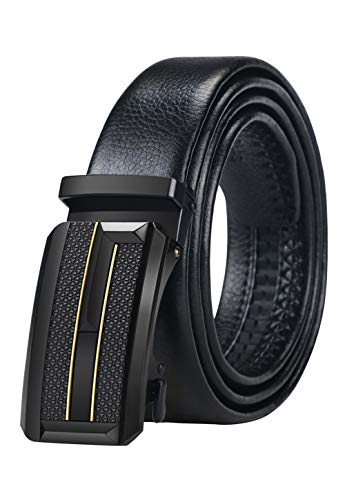 Mens Leather Belt, Ratchet Belt with Automatic Buckle 35mm Wide Dress Belt, Trim to Fit