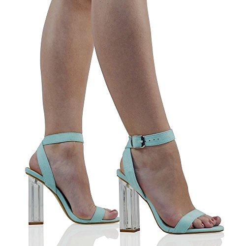 Scamosciato Donna Caviglia Festa Blu Perspex Tacco Pastello Scarpa Finto Scamosciato Sandalo Cinturino Fibbia GLAM Trasparente Finto ESSEX RpExIgBnqp