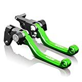 MZS CNC Pivot Brake Clutch Levers for Kawasaki KX65 2000-2016,KX85 2001-2016,KX125 2000-2005,KX250 2000-2004,KX250F 2004 Green