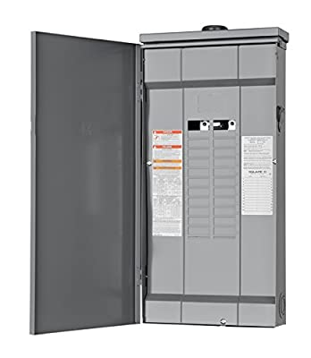 Square D by Schneider Electric HOM2448L125PRB Homeline 125-Amp 24-Space 48-Circuit Outdoor Main Lugs Load Center with Cover, Plug-on Neutral Ready