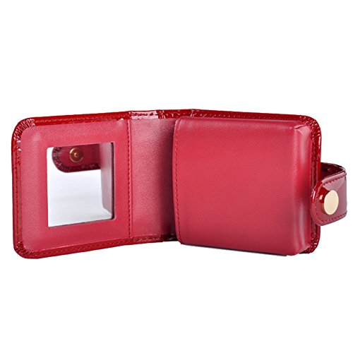 boshiho Mini Lipstick Case with Mirror Leather Cosmetic Pouch Case Best Gift for Ladies (Wine Red) ()
