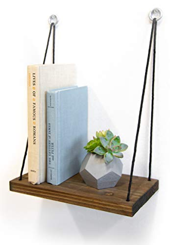 Gravy Goods Hanging Wood Shelf, Set of 2 in Brown Wood Finish, Rustic Contemporary Modern