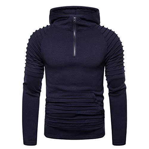iLXHD Men Casual Slim Fit Autum Winter Long Sleeve Hooded Sweatshirt Zipper Outwear Tops Blouse Navy