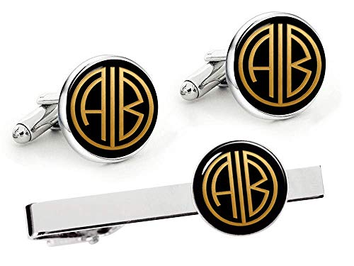 Kooer Handmade Custom Personalized Wedding Initial Monogram Cufflinks 1920s Film Style Vintage Cuff Links Gift For Men Groom Groomsman Tie Clip Tie Tack Set