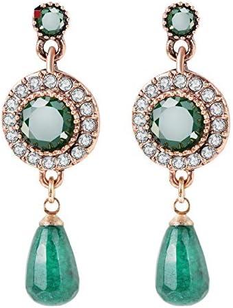 Pendientes colgantes de piedra natural verde para las mujeres oro antiguo agua gota borla colgante joyería étnica Punk Vintage joyería