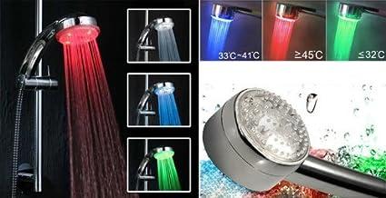 Soffione Doccia Led Funzionamento.Doccia Led Luminosa A Led 3 Colori Led Shower Doccetta Soffione