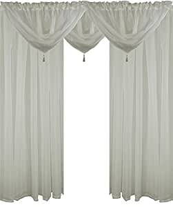 "IVORY 5 PIECE VOILE SET 90"" 229CM ROD POCKET CURTAINS DRAPES & SWAGS"