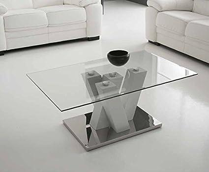Mocada Yuri Tavolino da salotto in legno acciaio e cristallo ...