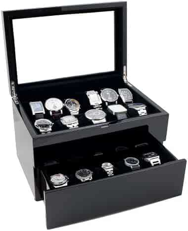 Caddy Bay Collection Piano Glossy Black Wood Watch Case Display Storage Box with Glass Top Holds 20+ Watches, Adjustable Soft Pillows and High Clearance for Large Watches