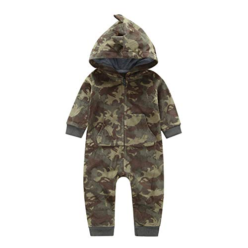 SRYSHKR Newborn Infant Baby Boy Camouflage Hooded Romper Jumpsuit Outfits Warm Clothes (6M, Camouflage)