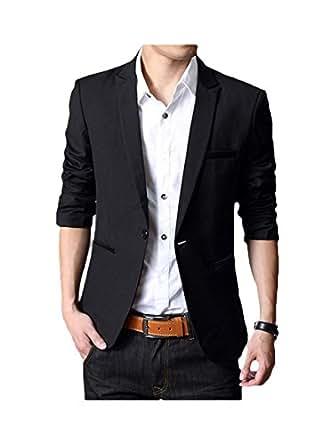 GEEK LIGHTING Mens Slim Fit Single One Button Blazer Jackets Black US X-Small/Label X-Large