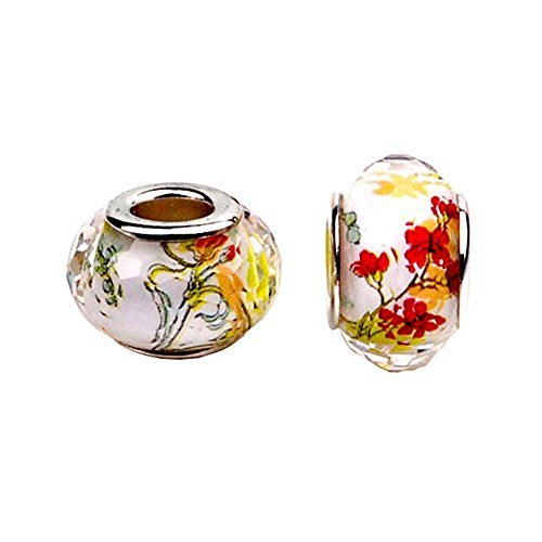 Bling Stars Plum Blossom Flower Murano Glass Crystal Fascinating Facet Beads Spacers Solid Core Charm Fit Pandora ()