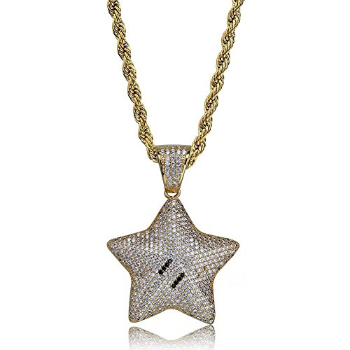 Iced Out Star - SHINY.U Iced Out CZ Cluster Simulated lab Diamond Emoji Star Purse Pendant Necklace Chain Men Women Fashion Gifts (Gold Star)
