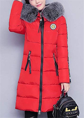 Coat Fit Addensato Slim Down Inverno Fur Cl��sico Outdoor Jacket Sleeve Rot Girl Long Parka Ladies Hooded Warm With xCAwYqUOw
