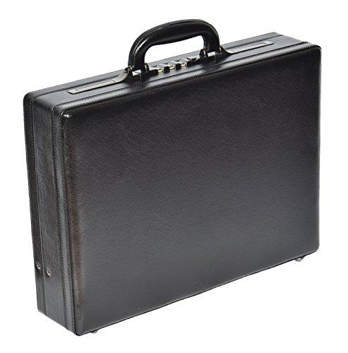 Attache Aktenkoffer Leder Look Erweiterbar Geschäft Arbeit Tasche HOL2946 Schwarz