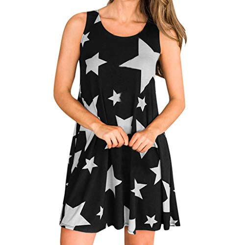 - Tantisy ♣↭♣ Women's Summer Casual T Shirt Dresses Star Print Sleeveless Beach Cover up Plain Tank Dress Black
