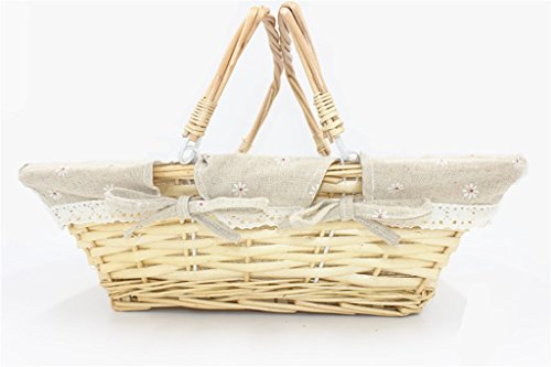 Oypeip(TM) Medium Wicker Basket Rectangle Woven Willow Basket with Double Drop Down Handles and Removable Linen Lining Gift Picnic Basket (Nature) -