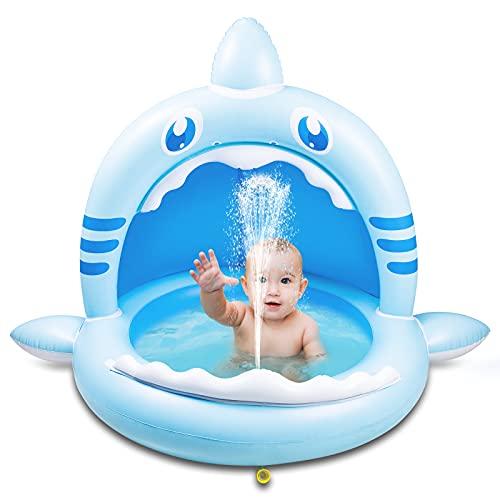 41IkDypKq3S. SS500 【Alta calidad】: esta piscina hinchable infantil está hecha de PVC de alta calidad, impermeable y hermética. Es divertido para los bebés y fácil de inflar, lo que mantiene a los niños frescos y seguros. 【Techo de protección solar】: el techo de protección solar protege a los bebés de la luz solar directa. Esta piscina infantil ofrece a su bebé un lugar fresco y fresco en el caluroso verano. 【Adorable diseño con forma de tiburón】: esta piscina infantil para niños tiene la forma de un tiburón, es muy linda y adecuada para bebés y niños. Y tu bebé se enamorará de este piscina hinchable.